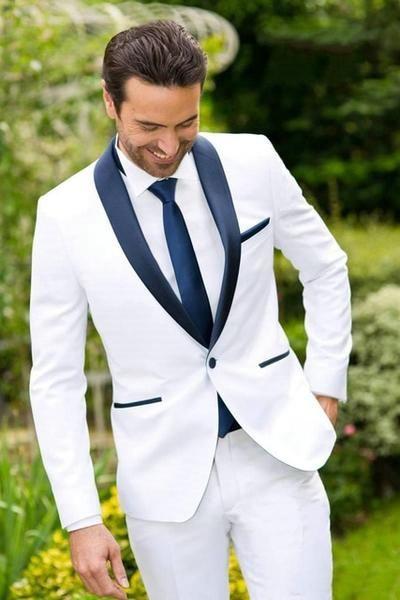 Setelan Jas Pernikahan Putih Keren
